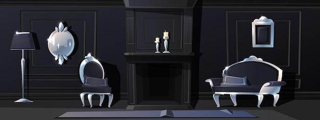 Sala de estar de luxo dos desenhos animados