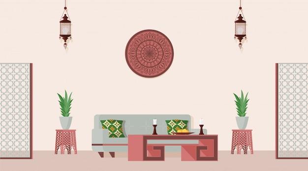 Sala de estar decorada em estilo oriental. ilustração em vetor plana de estilo árabe ou indiano projetado quarto.