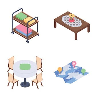 Sala de estar do hotel e pacote de ícones isométrica de serviço de quarto
