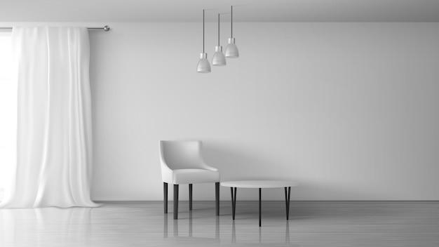 Sala de estar em casa, apartamento, salão de casa realista vector ensolarado interior. cadeira e mesa de café perto de parede branca vazia, lustroso laminado no chão, cortina branca longa na ilustração de haste de janela