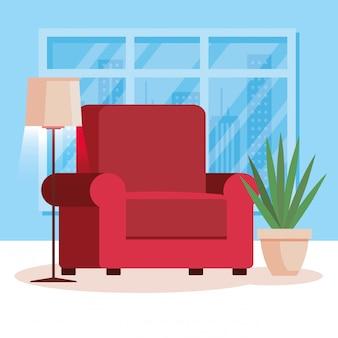 Sala de estar em casa com sofá
