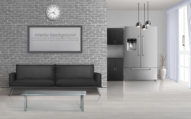 Sala de estar em casa, cozinha de estúdio interior espaçoso no minimalismo