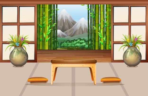 Sala de estar em estilo japonês
