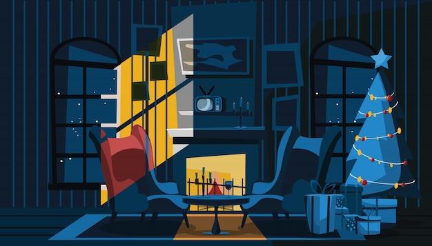 Sala de estar em ilustração vetorial de dia de natal