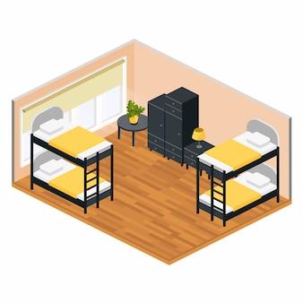 Sala de estar em um albergue em isométrico