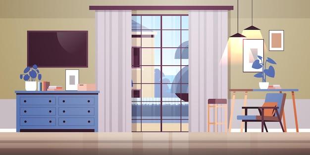 Sala de estar interior vazio sem pessoas em casa apartamento moderno design plano horizontal