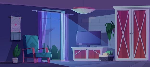 Sala de estar noturna com interior eco rústico no escuro