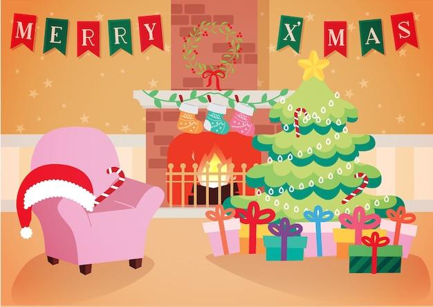 Sala de estar quente com vetor de fundo de decoração de natal