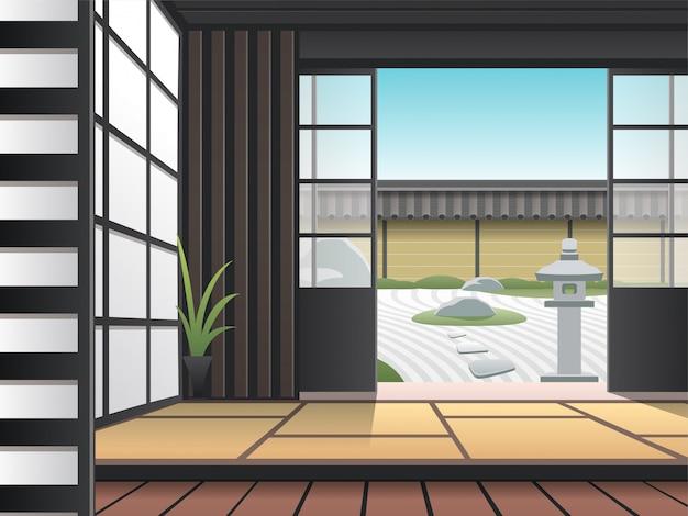 Sala de estar relaxante em estilo japonês