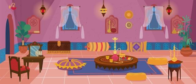 Sala de estar tradicional do oriente médio com móveis e elementos de decoração.