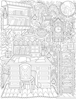 Sala de estudo doodle desenho de linha mesa gaveta relógio globo livros plantas desenhada home office com mesa
