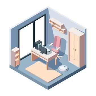 Sala de estudo em vista isométrica