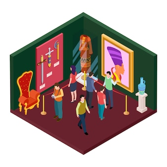 Sala de exposições do museu com ilustração isométrica de objetos de arte