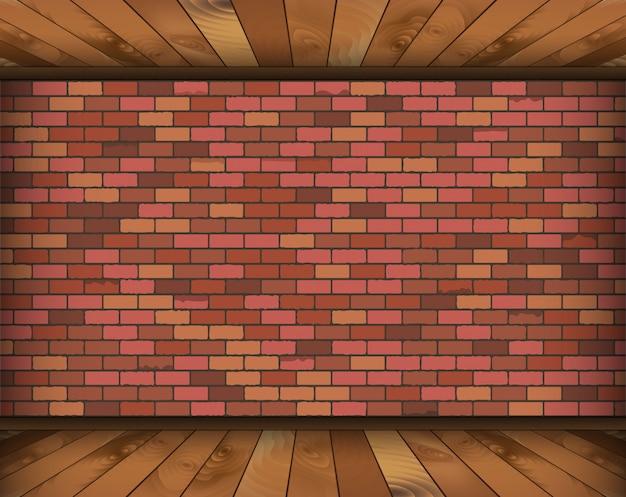 Sala de fundo com tijolos e piso de madeira