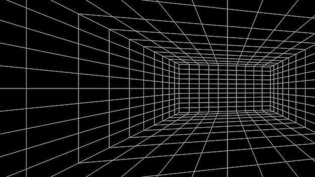 Sala de grade 3d perspectiva fundo preto design de interiores de construção de realidade virtual