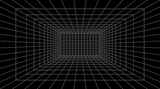 Sala de grade 3d perspectiva fundo preto design de interiores e modelo de realidade virtual