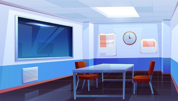 Sala de interrogatório na delegacia, interior