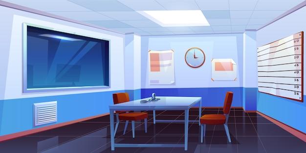Sala de interrogatório no interior da delegacia