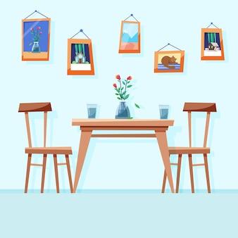 Sala de jantar aconchegante com mesa e cadeiras