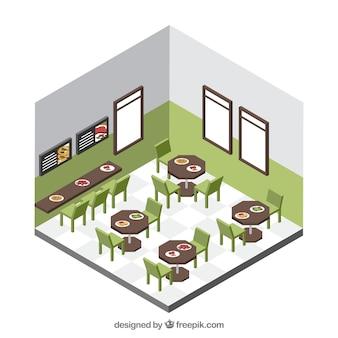 Sala de jantar arrumada com perspectiva isométrica