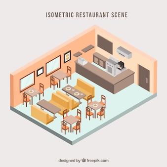 Sala de jantar clássica com perspectiva isométrica