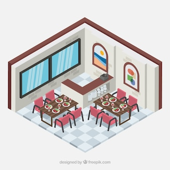 Sala de jantar do restaurante com perspectiva isométrica