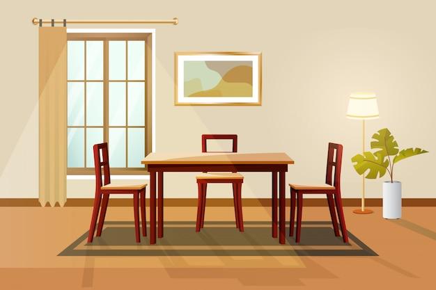 Sala de jantar interior ilustração vetorial.