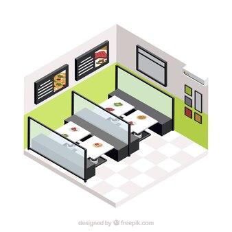 Sala de jantar moderna com isométrico persoectivo