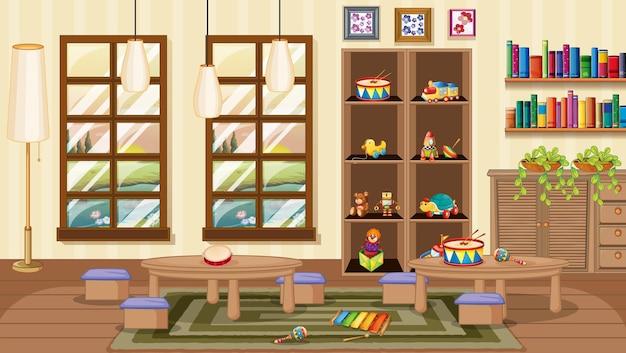 Sala de jardim de infância com decoração de interiores e objetos