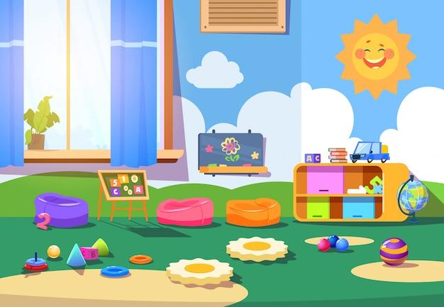 Sala de jardim de infância. sala de playschool vazia com brinquedos e móveis. interior dos desenhos animados de sala de jogos de crianças