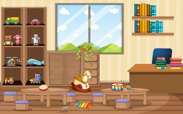 Sala de jardim de infância vazia com objetos de sala de aula e decoração de interiores