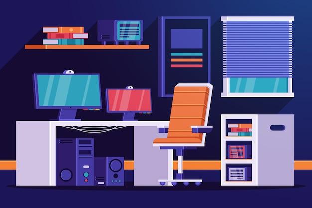 Sala de jogador de ilustração plana