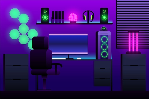 Sala de jogador plana ilustrada