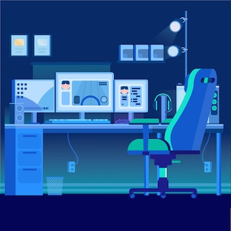 Sala de jogador plana orgânica ilustrada
