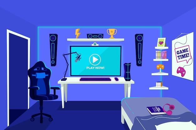 Sala de jogador vazia de design plano
