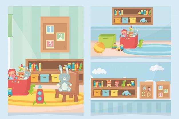 Sala de jogos brinquedos prateleira cadeira placas caixas de tapete
