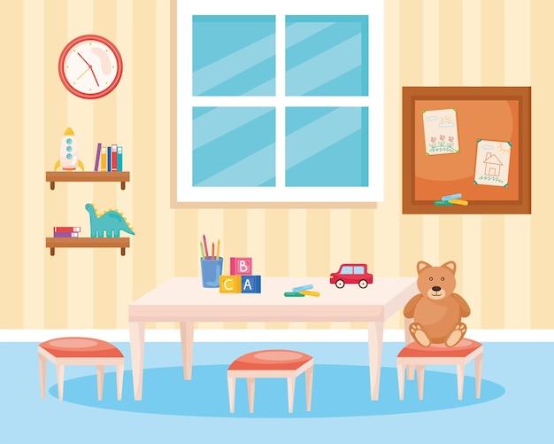 Sala de jogos com brinquedos