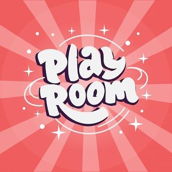 Sala de jogos. logotipo de crianças, com texto desenhado à mão, frase