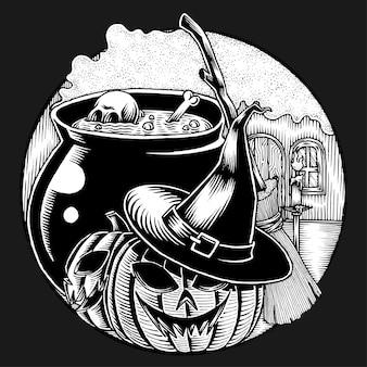 Sala de laboratório de bruxa, mão desenhada illusutartion