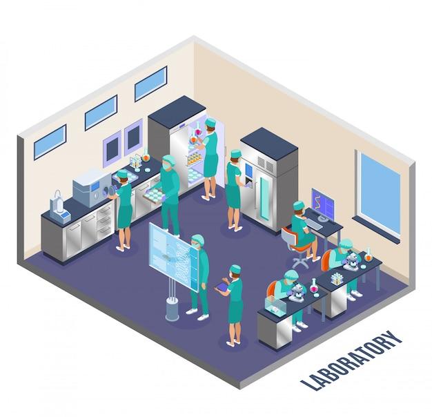 Sala de laboratório de composição isométrica de microbiologia e paredes com cientistas na ilustração do trabalho