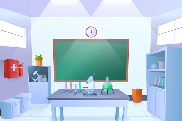 Sala de laboratório de desenho animado com placa