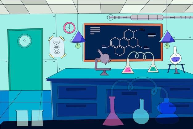Sala de laboratório de desenho animado ilustrada