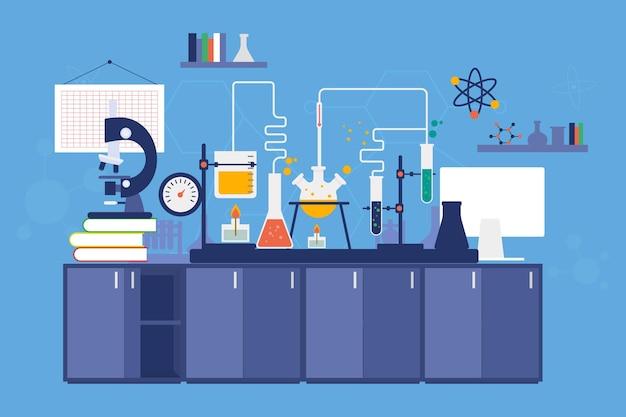 Sala de laboratório de design plano com microscópio