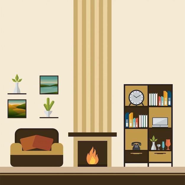 Sala de lareira com ilustração vetorial de sofá