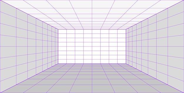 Sala de laser de perspectiva de grade 3d em estilo de tecnologia. túnel de realidade virtual ou buraco de minhoca. fundo abstrato de vaporwave