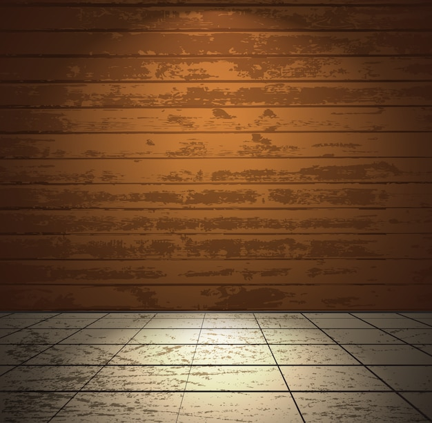 Sala de madeira com piso claro