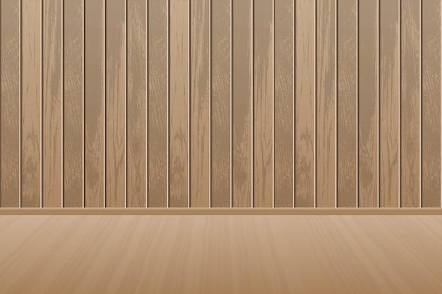 Sala de madeira vazia e realista com piso de madeira