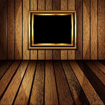 Sala de madeira velha com moldura de ouro.