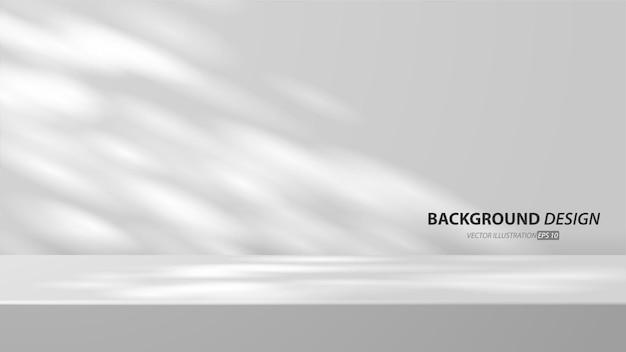 Sala de mesa vazia de estúdio cinza e luz de fundo. exibição do produto com espaço de cópia para exibição do design de conteúdo. banner para anunciar o produto no site.