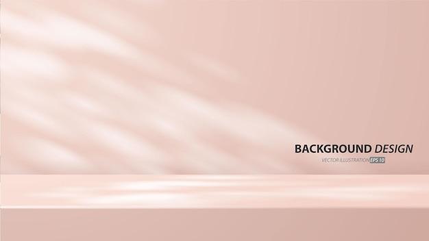 Sala de mesa vazia do estúdio rosa e luz de fundo. exibição do produto com espaço de cópia para exibição do design de conteúdo. banner para anunciar o produto no site.